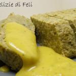 Tortino di piselli e miglio con salsa allo zafferano