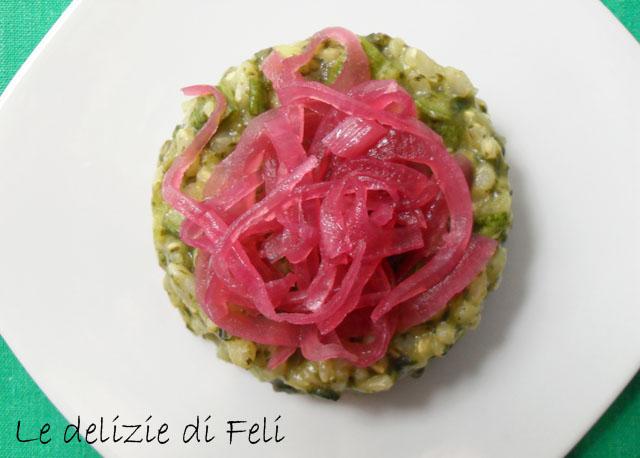 risotto verde con cipolla rossa caramellata